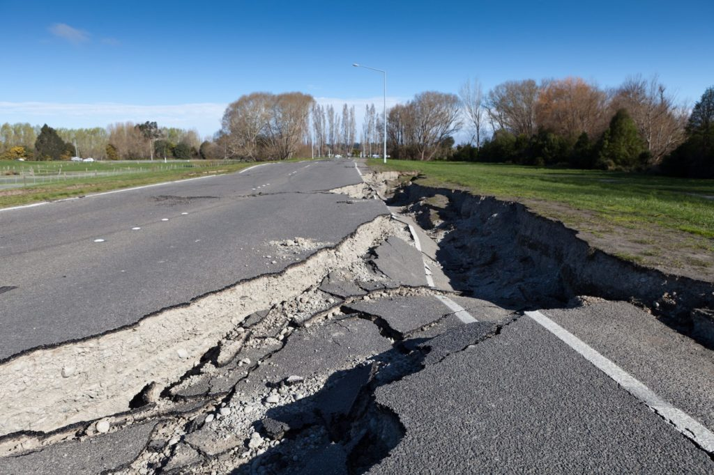 Road damaged by earthquake