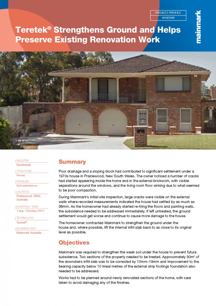 Teretek strengthens ground and helps preserve existing renovation work