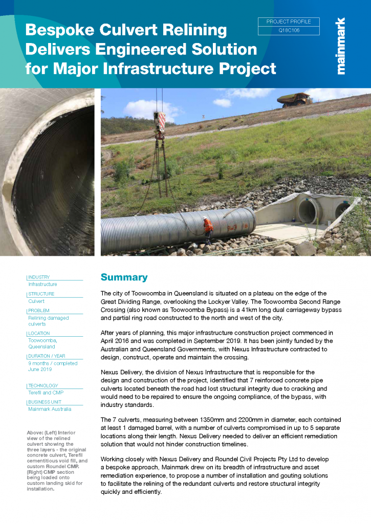 Bespoke culvert relining delivers engineered solution for major infrastructure project