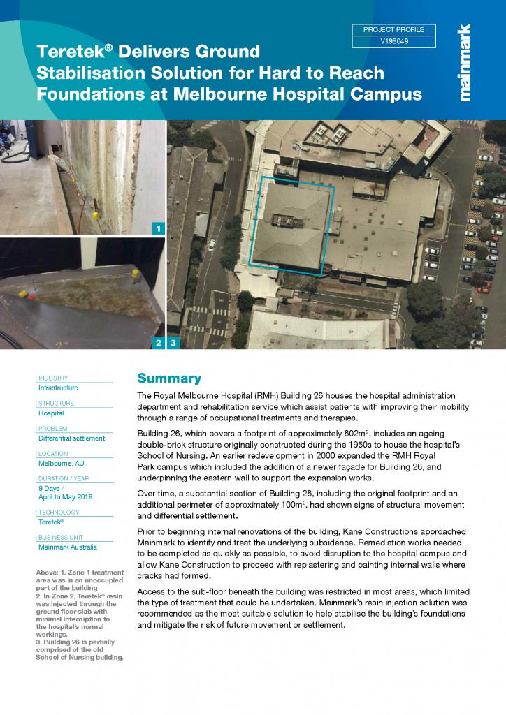Teretek delivers ground stabilisation solution for hard to reach foundation at Melbourne hospital campus