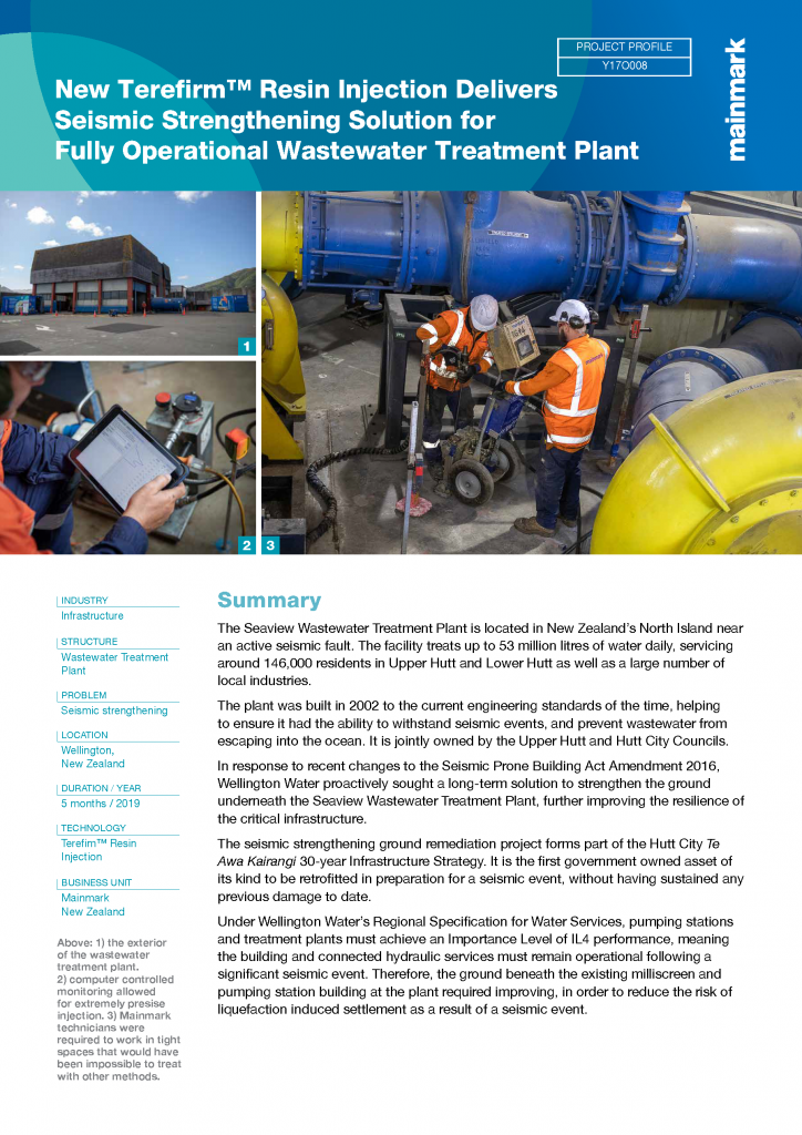New Terefirm Resin Injection delivers seismic strengthening solution for fully operational wastewater treatment plant