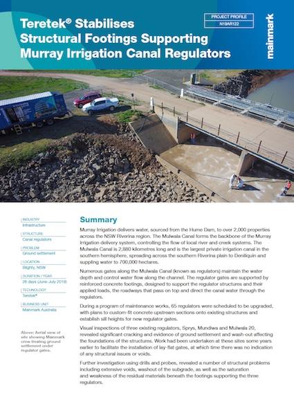 Teretek Stabilises Structural Footings Supporting Murray Irrigation Canal Regulators