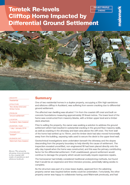 Teretek Re-levels Clifftop Home Impacted by Differential Ground Settlement
