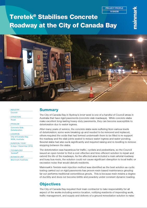 PP-N19A038-Teretek® Stabilises Concrete Roadway at the City of Canada Bay