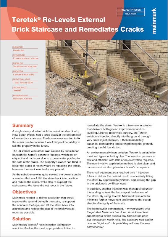 PP-N20CM075-Teretek® Re-levels External Brick Staircase and Remediates Cracks
