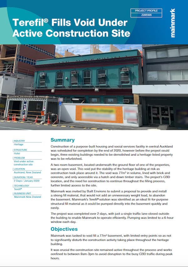 PP-Z20E005-Terefil® Fills Void Under Active Construction Site