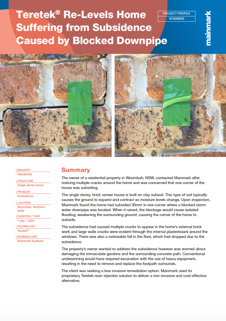 PP-N19DN025-Teretek® Re-Levels Home Suffering from Subsidence Caused by Blocked Downpipe