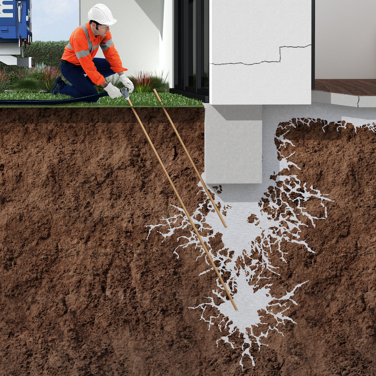 Mainmark illustration of resin being injected into the ground to lift a wall structure