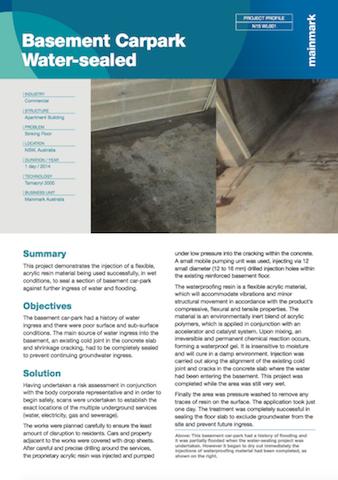 basement carpark water-sealed