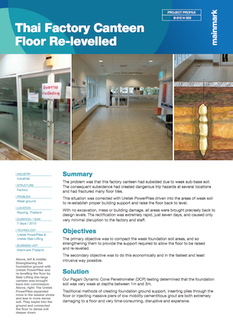 thai factor canteen floor re-levelled