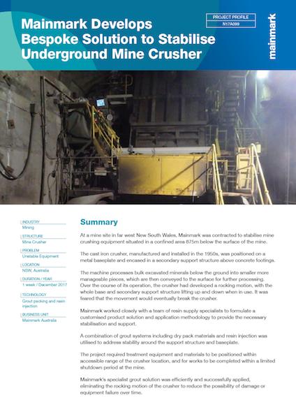 Mainmark-Develops-Bespoke-Solution-to-Stabilise-Underground-Mine-Crusher