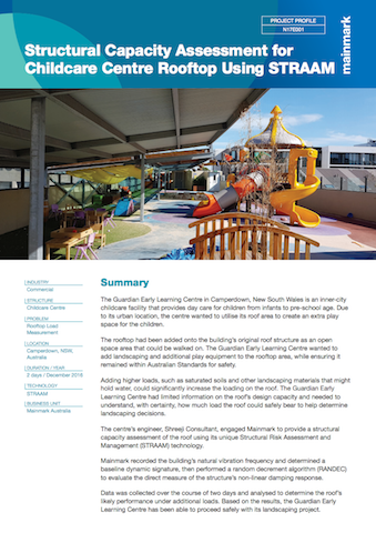 structural capacity assessment for childcare centre rooftop using STRAAm