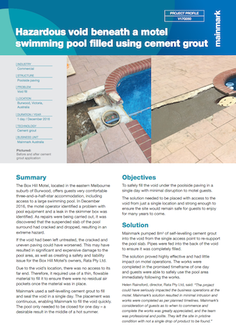 hazardous void beneath a motel swimming pool filled using cement grout