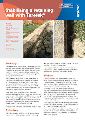 Stabilising a retaining wall with Teretek