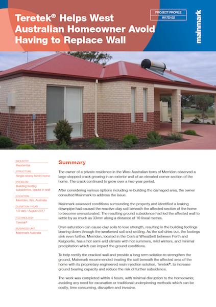 Teretek helps west australian homeowner avoid having to replace wall