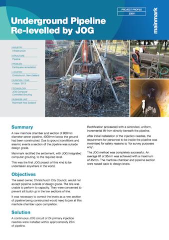 underground pipeline re-levelled by JOG